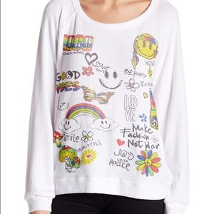 Lauren Moshi Good Vibes White Pullover Top M